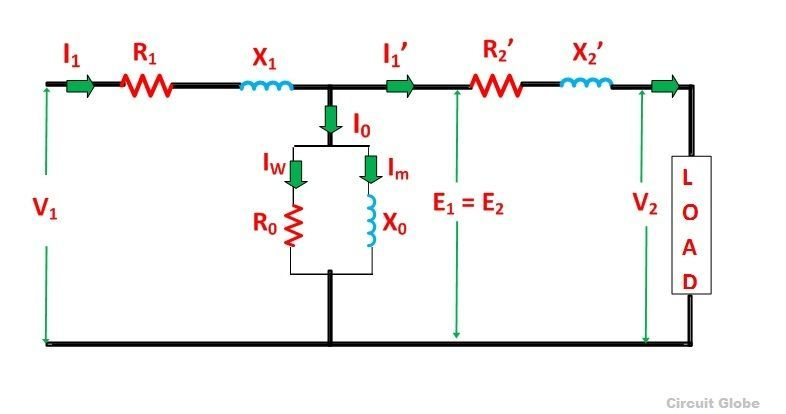 Equivalent Circuit Of A Transformer Referred To Primary And