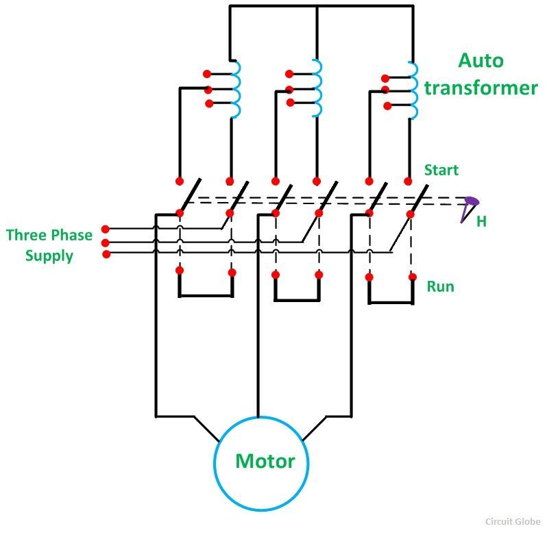 what is auto transformer starter its theory circuit globe rh circuitglobe com Electric Motor Starters Wiring Schematics AC Motor Wiring Diagram