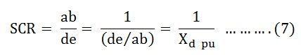 short circuit ratio of a synchronous machine its significanceshort circuit ratio of synchronous machine eq 7