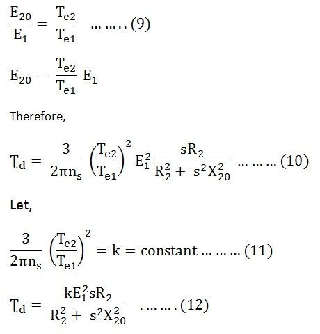 Torque Equation Of An Induction Motor Starting Torque