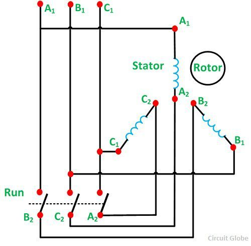 What is Star Delta Starter? - its theory - Circuit Globe Star Delta Starter Wiring Diagram Dc Ke on wye delta connection diagram, hertzberg russell diagram, star delta motor manual controls ckt diagram, star connection diagram, 3 phase motor starter diagram, auto transformer starter diagram, motor star delta starter diagram, star delta circuit diagram, rocket launch diagram, star formation diagram, star delta wiring diagram pdf, river system diagram, induction motor diagram, wye start delta run diagram, three-phase phasor diagram, star delta starter operation, forward reverse motor control diagram, how do tornadoes form diagram, life of a star diagram, wye-delta motor starter circuit diagram,