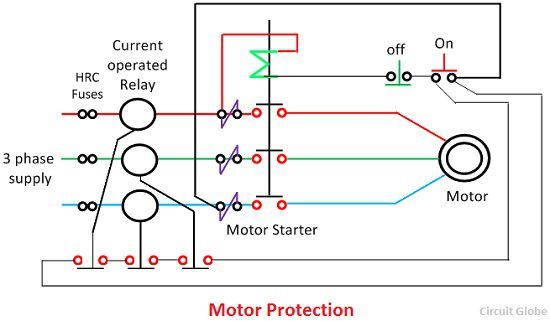 Motor protection scheme circuit globe for Motor ground fault protection