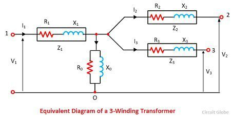 equivalent-diagram-of-a-three-winding-transformer