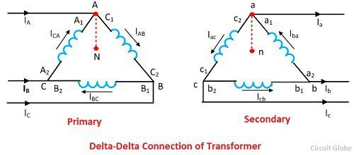 Three phase transformer connections circuit globe delta delta connection equation 1 ccuart Choice Image