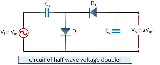 circuit of half wave voltage doubler